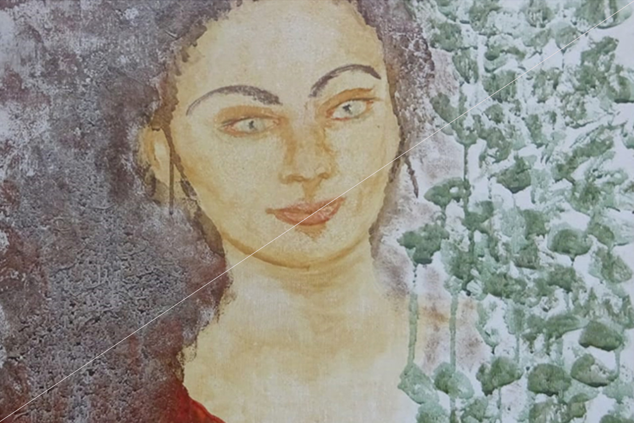 Clémence C.: Žena s hnědými vlasy - tempera na plátně
